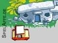 Flitze mit dem Flint-Mobil durch die Steinzeit und erledige Aufträge für Deine Frau Wilma. Nutze die
