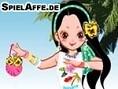 Steuerung: Maus Kleide das Mädchen für einen schönen Tag am Strand ein. Ziehe dazu die einzelnen Kle