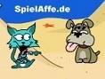 Steuerung: Maus Wirf Muscheln auf die Katze. Ziel ist es, den Energiebalken Deines Gegners zu minimi