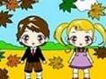 Malbuch 3 Mal die beiden Kinder und ihre Umgebung schön bunt an! Steuerung: Tauche den Pinsel mit Hi