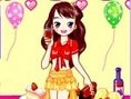 Kleide das Mädchen für eine Riesen-Party ein. Klicke auf die Kleidungstücke, um sie auszuwählen und