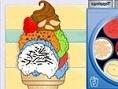 Dekoriere Deine eigene leckere Eiswaffel. Klicke auf die Eissorten und platziere sie so, wie es Dir