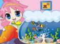Aquarium gestalten Hilf dem kleinen Mädchen, ein Aquarium zu dekorieren und kleinen Fischen ein Zuha