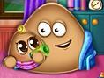 Ücretsiz K?z Oyunlar? Online Pou Has A Baby, Ünlü Pou art?k bebek sahibi. Oyun Fare i