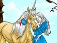 Buntes Einhorn Das Einhorn und die Prinzessin wollen wunderschön aussehen. Malst du sie in tollen Fa