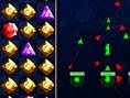Weltraumkampf ist eine Mischung aus Verbinden-Spiel und Strategie. Klicke gleichfarbige Steine weg u